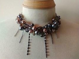 "17""VINTAGE Metallic Pink Blue Bronze Statement Cluster Crystal Choker Necklace, - $9.89"