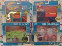 Mattel Hot Wheels Track Set PlaySets BlazeBlast/RoboLift/CarWash/GhostGar Lot/4 - $85.13