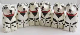 Vintage Dalmatian Wooden Dog Napkin Rings Set of 6 Party Tableware Light... - $59.39