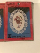 Lot of 3 Cross Stitch Lace  Christmas Ornament Kits Designs For The Need... - $5.93