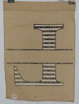 Kate Winston Brand Brown Burlap Monogram Black And White L Garden Flag image 2