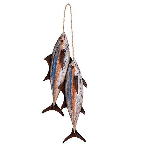 "7 3/4"" Blackfin Tuna Wood with Metal Fins Wall Hanging 2 Fish Decoration Beach N"