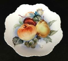 Vintage Lefton Decorative Plate w Hand Painted Fruit Still Life Scalloped Edge - $9.40