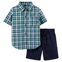 Carters boys 2 piece Short Outfit Plaid Size 7 NWT - $11.69