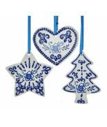KURT ADLER SET OF 3 PORCELAIN DELFT BLUE HEART/CHRISTMAS TREE/STAR ORNAM... - $14.88