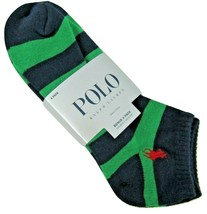 4-Pack Polo Ralph Lauren No Show Ankle Socks Large 6-12.5 Black White Gr... - $16.78