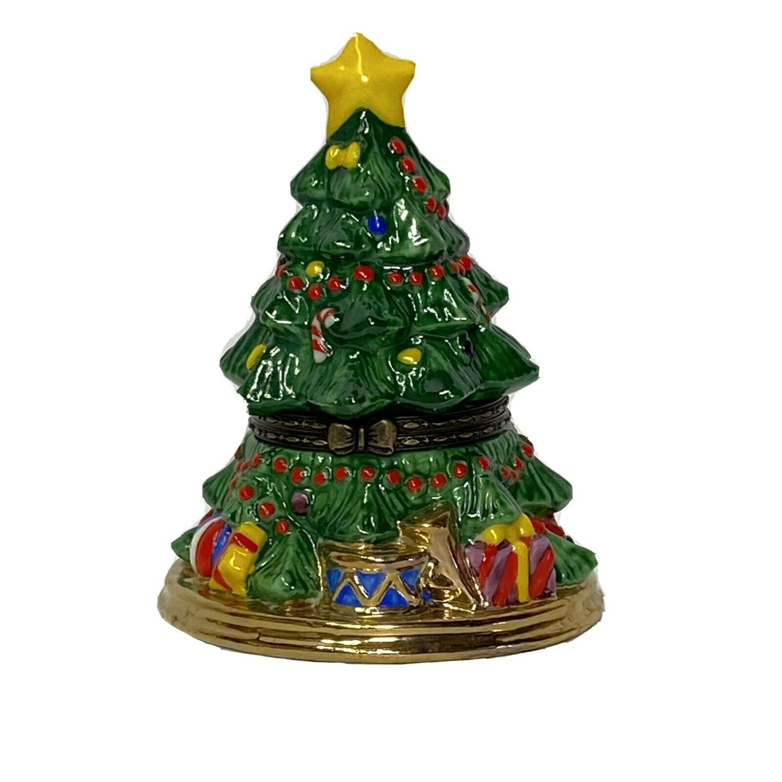 Primary image for Dept 56 Merry Christmas Tree Hinged Keepsake Trinket Box Holiday Décor
