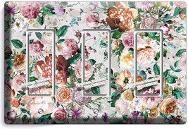 Victorian Floral Pattern Roses Peonies 3 Gfci Light Switch Wall Plate Room Decor - $16.19