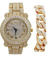 Bling-ed Out Round Luxury Mens Watch W/Bling-ed Out Cuban Bracelet - L05... - $83.65