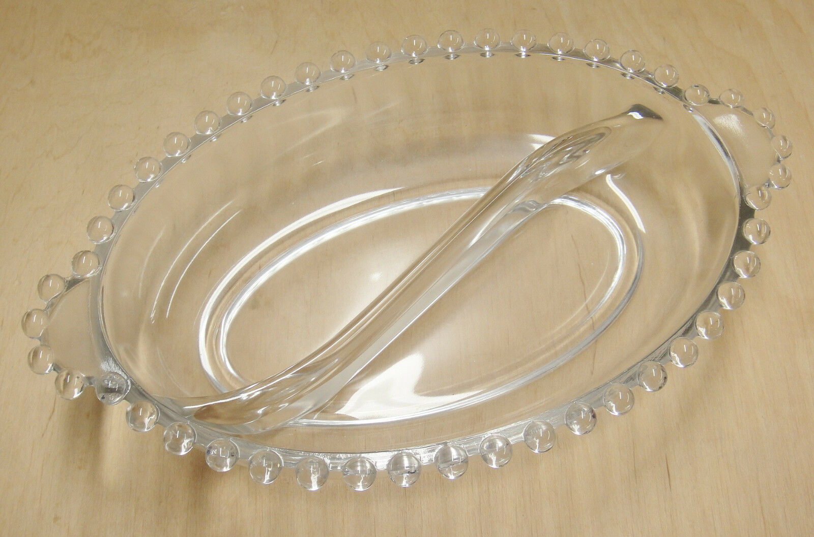 Glass Candlewick Divided Oval Relish Dish Lugged Handles 6.5 x 4.5 Beaded Edge