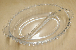 Glass Candlewick Divided Oval Relish Dish Lugged Handles 6.5 x 4.5 Beade... - $9.89