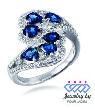 Blauer Saphir Geburtsstein 14k Weiss Gold 1,77 Ct Natürlicher Diamant - $741.00