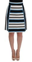 Dolce & Gabbana White Black Blue Striped Cotton Skirt - $311.78
