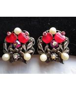Vintage earrings red Lucite discs pink aurora borealis rhinestones faux ... - $18.00