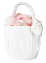 cream satin wedding flower girl basket  - $11.99
