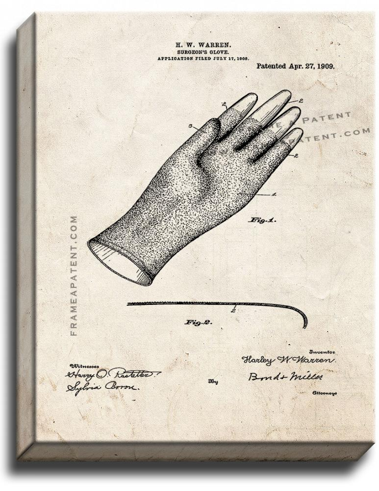 Primary image for Surgeon's Glove Patent Print Old Look on Canvas