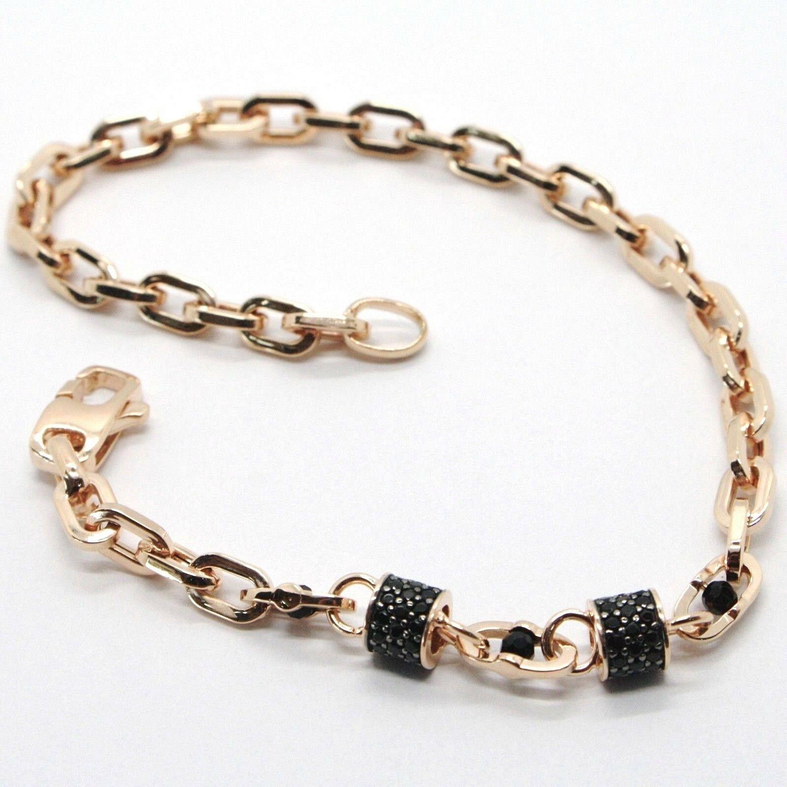 Armband Gold Pink 18K 750, Röhren mit Zirkonia Schwarze und Ovale Abwechselnde,