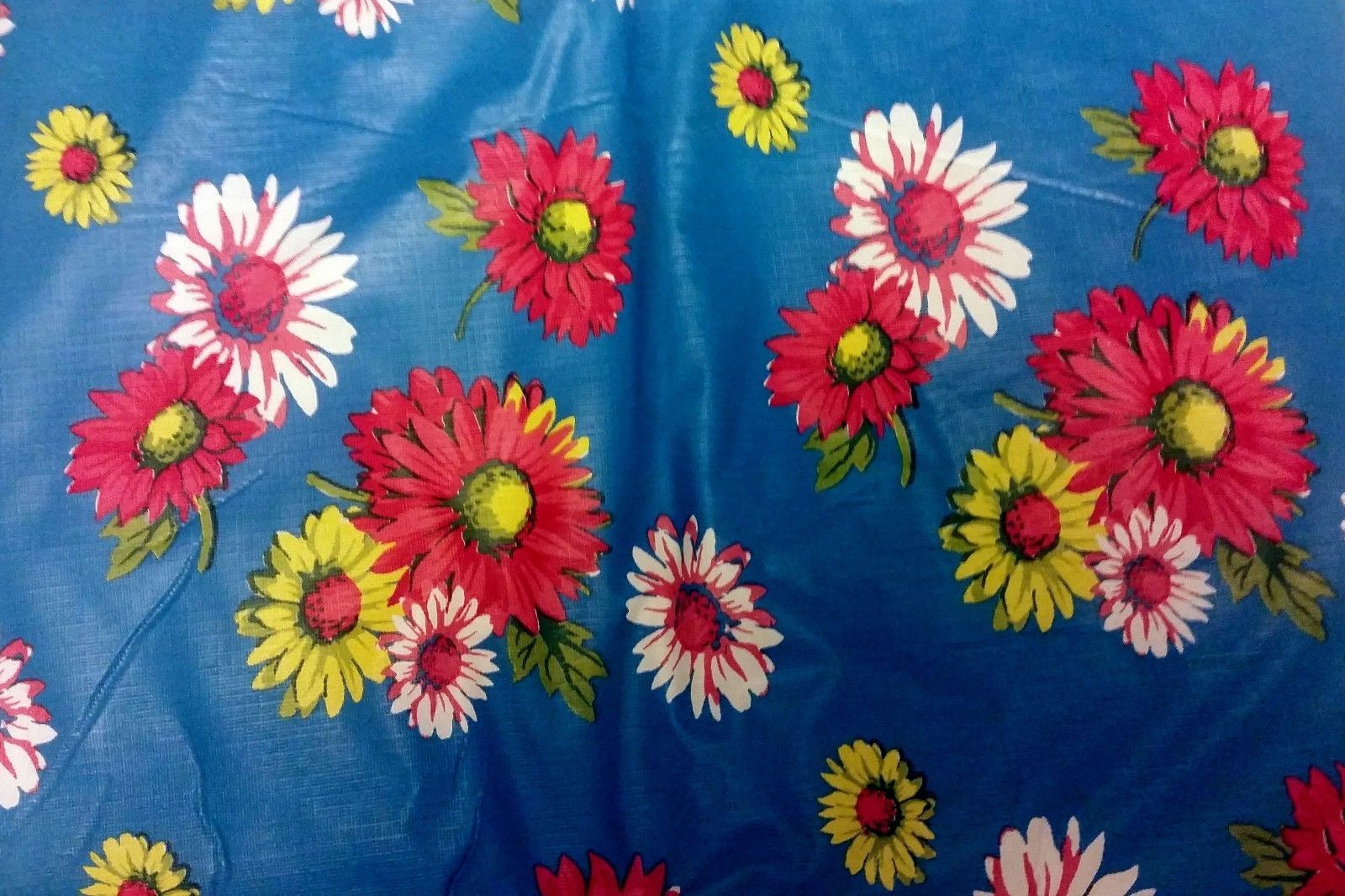 "Primary image for FLANNEL BACK TABLECLOTH SQUARE 52"" x 52"", (4 ppl) COLORFUL FLOWERS On BLUE by RL"
