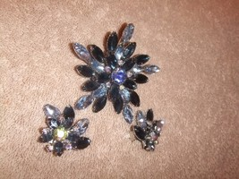Vintage Pin/Brooch & Clip on Earrings Lovely Bl... - $23.84