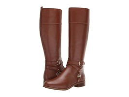 MICHAEL Michael Kors Preston Leather Tall Riding Boots Chestnut Size 8.5 - £119.22 GBP