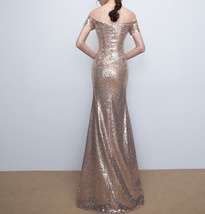 Gold Off Shoulder Short Sleeve Maxi Sequin Dress Lady Any Size Sequin Maxi Dress image 7