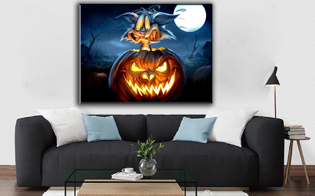"Fantasy Art Hallowmas Gift Oil Painting Print On Canvas Decor""pumpkins and cat"""