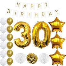 ZOPPO 30th Birthday Decorations Party Supplies Happy Birthday Banner, Gi... - $14.10