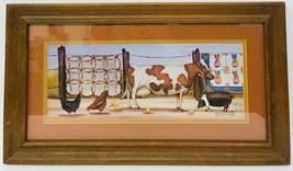 Beth Cummings Signed & Framed Barnyard Friends Print Folk Art Farm Count... - $98.99