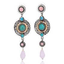 Blue charm women's earrings Bohemian natural stone crystal feathers roun... - $7.90