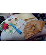 lot of 3 Vintage wooden hand fans  - $35.00