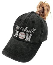 MANMESH HATT Baseball Mom Ponytail Baseball Cap Messy Bun (One Size|Black) - $20.67