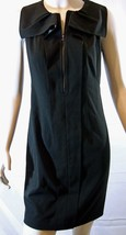 $278 Elie Tahari Zip Front Black Stretch Suiting Fabric Dress 2 - $93.50