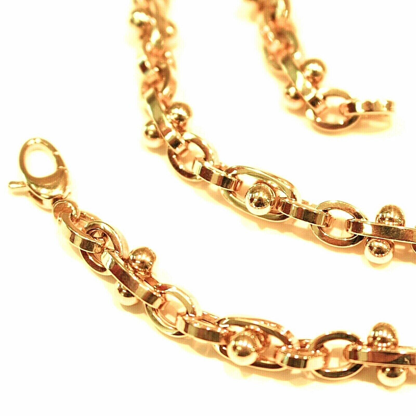 18K YELLOW GOLD CHAIN ALTERNATE OVALS 5 MM, SPHERES, 20 INCHES, ROUNDED NECKLACE
