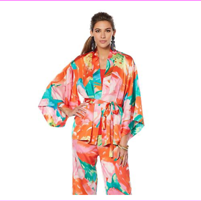 Primary image for Lots of 3 N Natori Printed Silky Satin Tie Belted Topper Paradise Multi Medium