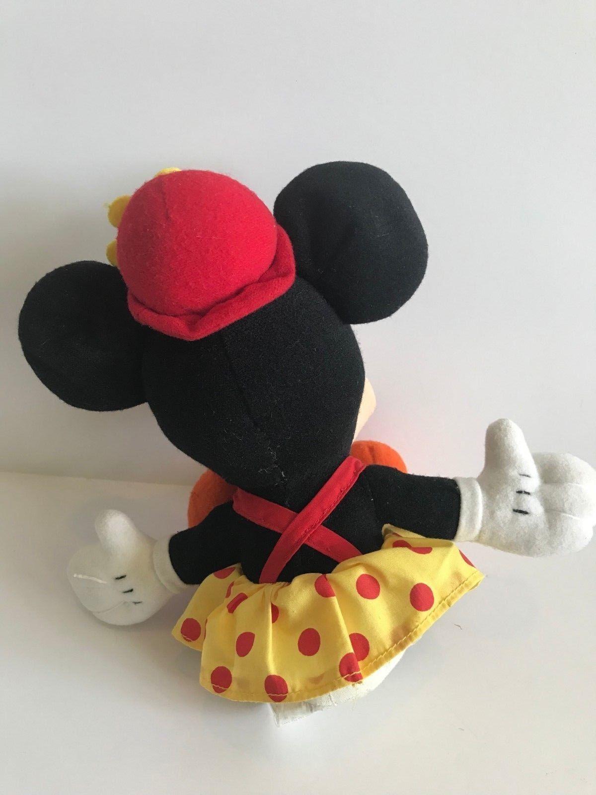 Mattel Arcotoys Minnie Mouse Yellow Red Polka Dot Flower Hat Plush Stuffed Doll image 5