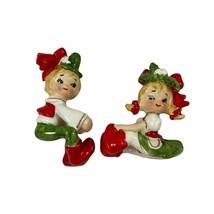 Lefton Girl & Boy Candle Hugger Figurines Vintage 1960s Christmas Holiday  - $49.49