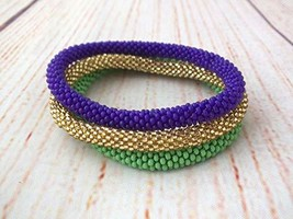 Triple Set Of Beaded Bracelet Purple Green Gold Bangle - $17.00+