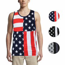 LR Scoop Men's US American Flag Summer Beach Two Tone Slim Fit T-Shirt Tank Top