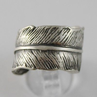 SOLID 925 BURNISHED SILVER BAND RING FEATHER PLUME FINELY WORKED, MADE IN ITALY