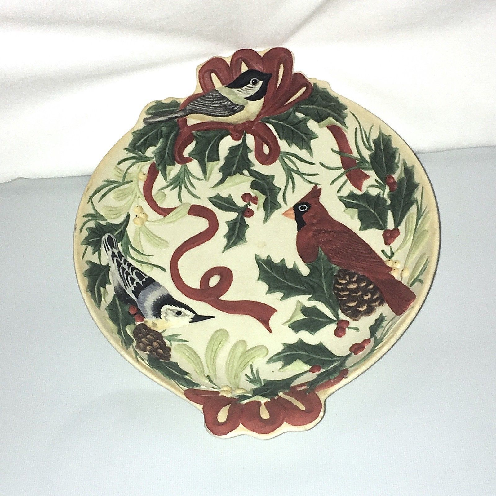 Lenox holiday candy dish 1 listing lenox winter greetings double tabbed handled cardinal chickadee candy dish 2474 m4hsunfo