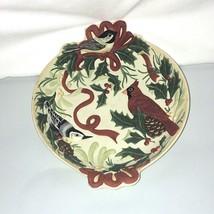 Lenox Winter Greetings Double Tabbed Handled Cardinal Chickadee Candy Dish - $24.74