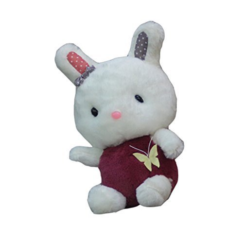 Cute Sitting Bunny Dolls Car Decor Bamboo Charcoal Auto Ornaments,WINE RED,9.8''
