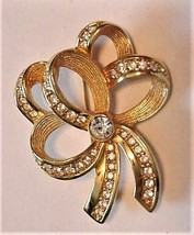 Swarovski Signed Pave Rhinestone Crystal Gold-Tone Ribbon Bow Brooch Pin - $39.55