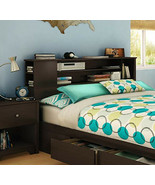 Bookcase Headboard Queen Brown Wood Storage Nightstand Full Modern Conte... - $163.62