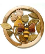 Bee Dogwood Flower Intarsia Wood Wall Art Home Decor Plaque Lodge New - $48.02