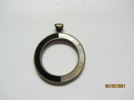 "Vintage Sterling Silver Mother Of Pearl Circle Pendant 1-3/8"" Across - $9.99"