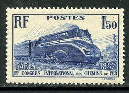 1937 Streamlined Steam Locomotive France Postage Stamp Catalog Number 328 MNH