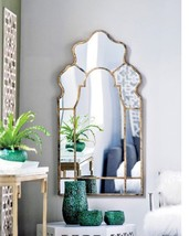 NEW Anthropologie Style Moroccan Antique Gold ARCH WALL MIRROR Vanity En... - $395.01