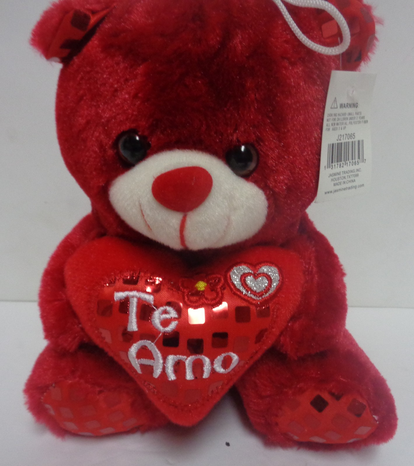 "Plush Teddy Bear NWT TE AMO Heart Emoji 8"" Love Red"
