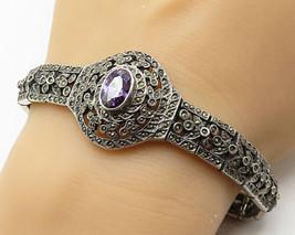 925 Silver - Vintage Oval Cut Amethyst & Marcasite Statement Bracelet - B4050 - $132.45